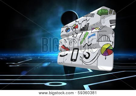poster of Media device brainstorm on abstract screen against keyhole on technological black background