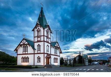 Icelandic church in the little town of Husavik, north Icleand.