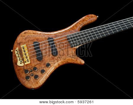 Curved Patterned Wood Bass Guitar On Black