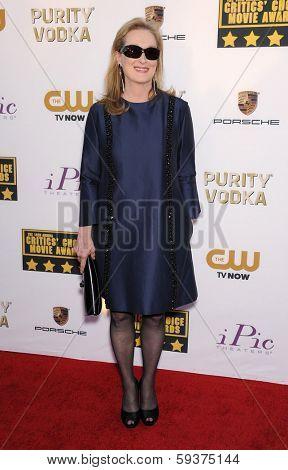 LOS ANGELES - JAN 16:  Meryl Streep arrives to the Critics' Choice Movie Awards 2014  on January 16, 2014 in Santa Monica, CA