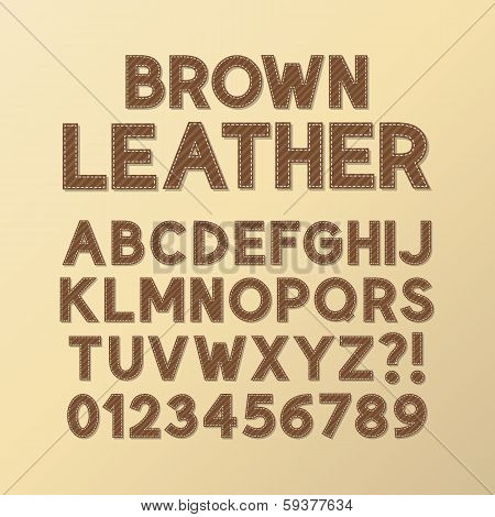 Abstract Brown Leather Font And Numbers, Eps 10 Vector