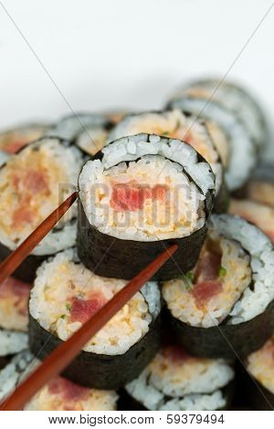 Spicy Tuna Roll Ready To Be Eaten