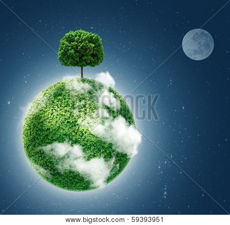 Green planet. Ecology concept. Green planet earth with a tree on  background of space . Go green. blue color