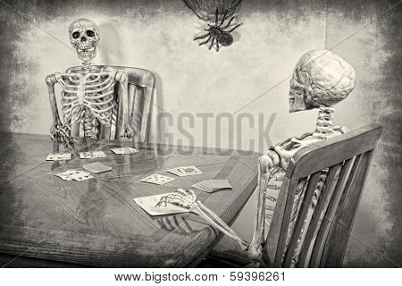 Two skeletons playing a game of rummy. Halloween theme. Textured. poster