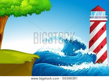 Illustration of the strong waves near the lighthouse