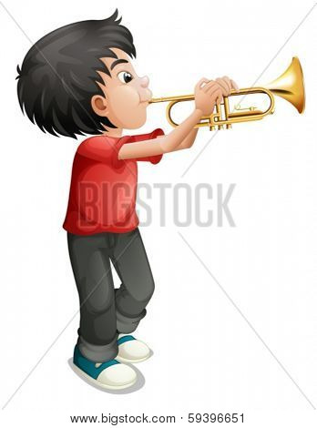 Illustration of a boy playing with his trombone on a white background
