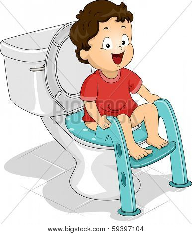 Illustration of a Little Boy Sitting on a Potty Seat