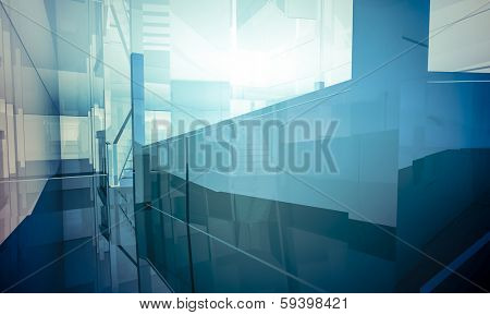 Empty office with columns and large windows, Indoor building. business space with blue light effects