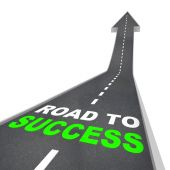 The Road to Success - Words on Arrow Going Up poster