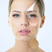 anti-aging concept, portrait of beautiful woman with problem and clean skin, aging and youth concept, beauty treatment  poster