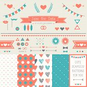 Set of elements for wedding design. save the date. The kit includes ribbons, bows, hearts, arrows and dotted vector patterns poster