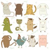 Chinese astrology. Rat, Ox, Tiger, Rabbit, Dragon, Snake, Horse, Goat, Monkey, Rooster, Dog, Pig. Set. Vector illustration. Isolated on white background poster