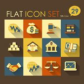 economic activities & financial icon set vector flat design poster
