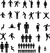 Complete collection of figures icons in various positions, running, standing, sitting, walking, playing, dancing, ect. poster