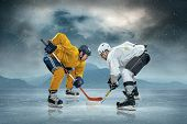 Ice hockey players on the ice poster