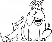 Black and White Cartoon Illustration of Two Funny Talking Dogs for Coloring Book poster