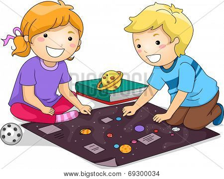 Illustration Featuring a Boy and a Girl Studying Planets Together