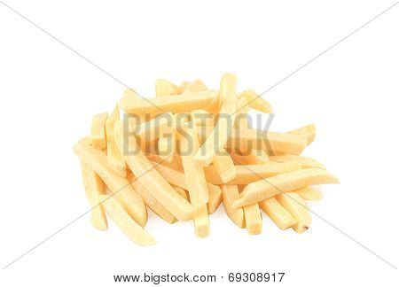 Frozen french fries. Isolated on a white background. poster