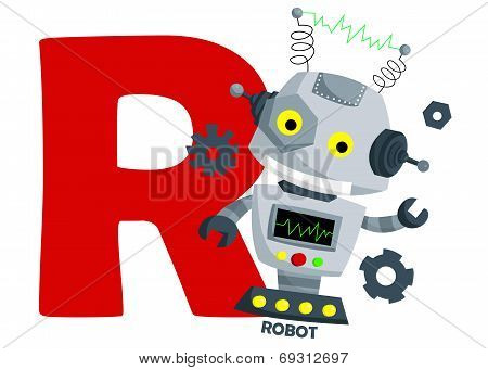 the letter r for the word robot poster