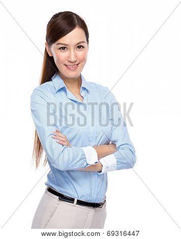 Asian businesswoman cross arm