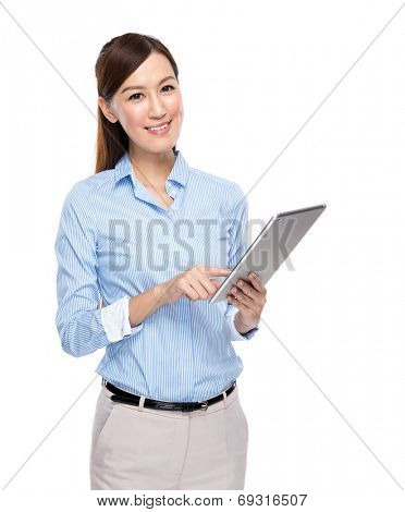 Asian businesswoman use tablet on white background