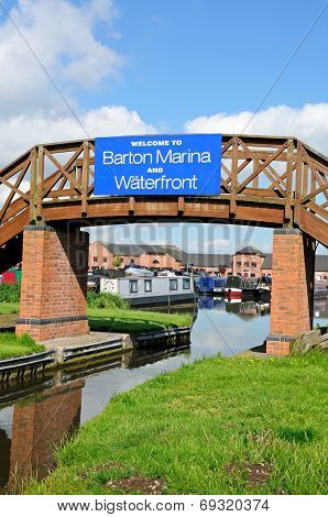 Footbridge leading to Barton Marina.