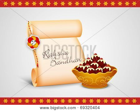 Raksha Bandhan celebrations concept with rakhi, letter and sweets on grey background.