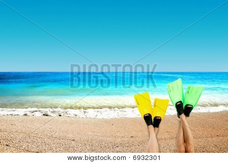 Flippers On A Background An Ocean