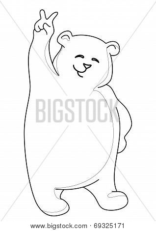 Teddy bear showing victory, contours