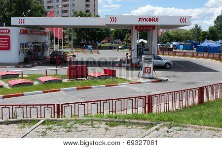 GOMEL, BELARUS - JUNE 21, 2014: Lukoil gas station  in Gomel. Lukoil is Russia's second largest oil company.