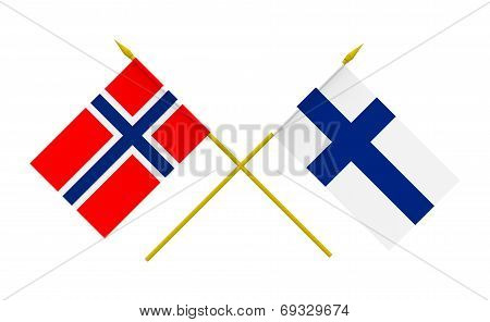 Flags of Finland and Norway 3d render isolated on white poster