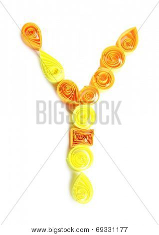 """The letter """"Y"""" is made of quilling isolated on white poster"""