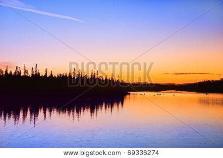Sunset On The River Umba. Kola Peninsula