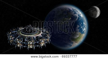 Alien mothership UFO nearing Earth with copy space background