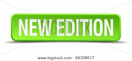 New Edition Green 3D Realistic Square Isolated Button