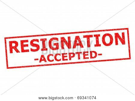 RESIGNATION ACCEPTED red Rubber Stamp over a white background. poster