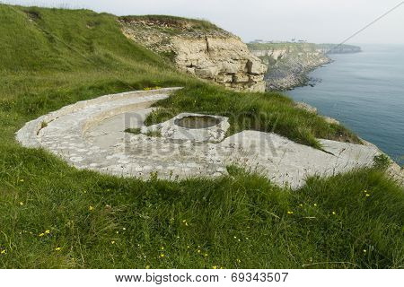 World War Two Gun Emplacement On Cliff Edge