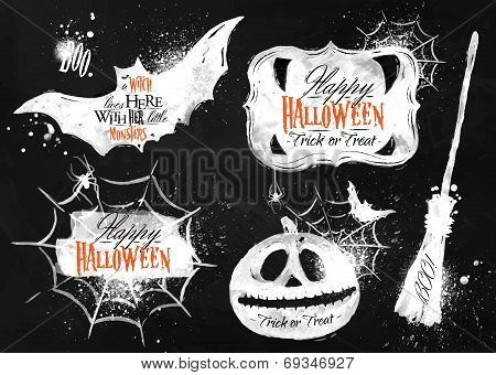 Halloween set symbols lettering in chalk