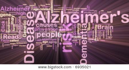 Alzheimer's Disease Wordcloud Glowing