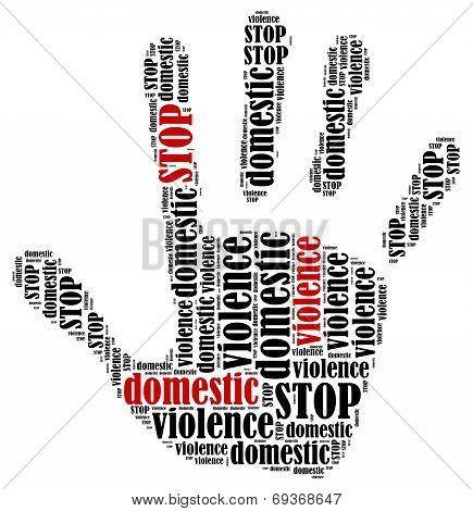 Stop domestic violence. Word cloud illustration in shape of hand print showing protest. poster