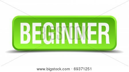 Beginner Green 3D Realistic Square Isolated Button