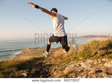 Man Practicing Trail Running In Nature