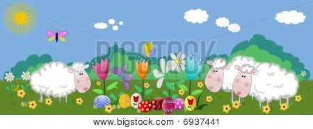 Lambs and easter eggs on the field with butterfly,illustration