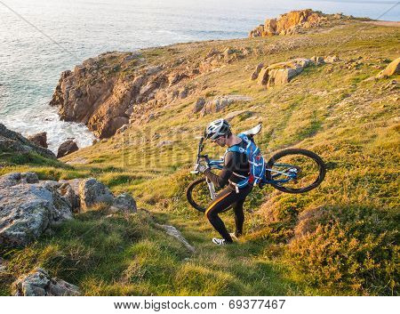 Cyclist Carrying Your Bike On The Galician Coast