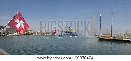 Tour boat leaving port in Geneva Switzerland