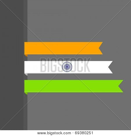 Beautiful stripes in Indian tricolors with Asoka Wheel on grey background for 15th of August, Indian Independence Day celebrations.