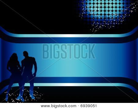 Beautiful couple silhouette with grunge background.