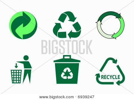Set of 6  green ecological icons