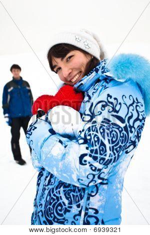 Smiling Girl In Blue Embrase Heart