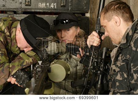 Armed combat soldiers thinking